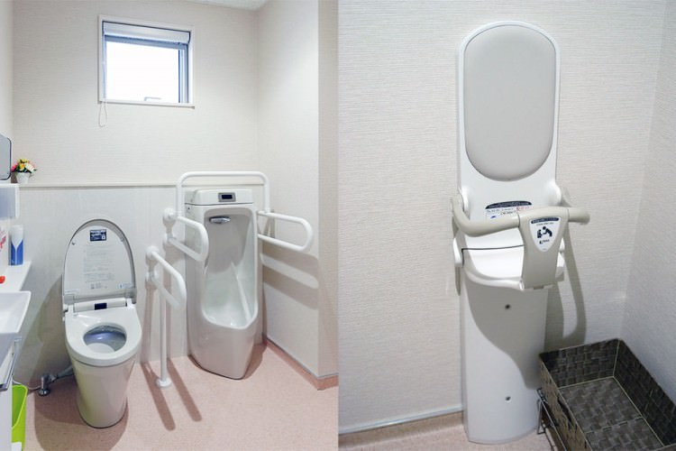 多目的トイレ、女子専用トイレ、ベビーチェア完備